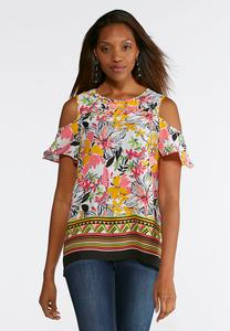 Grommet Floral Off The Shoulder Top