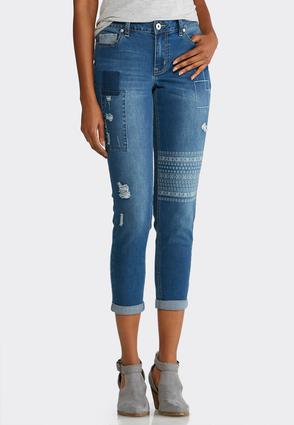 Distressed Patchwork Jeans | Tuggl