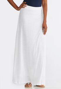 White Textured Knit Maxi Skirt