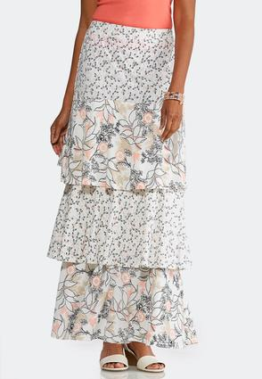 Plus Size Tiered Melon Floral Maxi Skirt