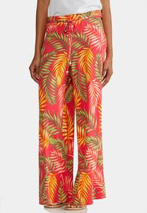 Petite Tropical Palm Palazzo Pants
