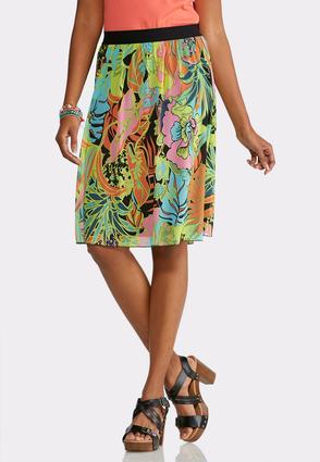 Plus Size Retro Floral Mesh Skirt   Tuggl