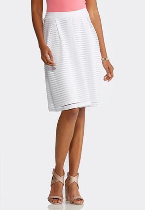 Plus Size White Shadow Stripe Midi Skirt | Tuggl