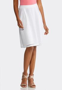 Plus Size White Shadow Stripe Midi Skirt