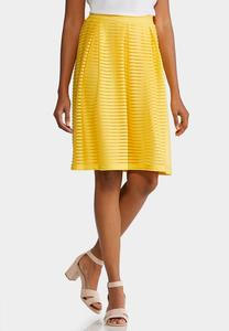 Plus Size Yellow Shadow Stripe Midi Skirt