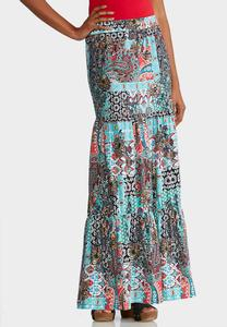 Plus Size Teal Patchwork Maxi Skirt