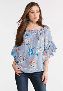 Plus Size Smocked Floral Stripe Ruffle Top