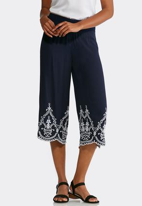 Embroidered Wide Leg Pants | Tuggl