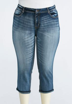 Plus Size Faded Cropped Skinny Jeans | Tuggl