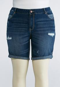 Plus Size Distressed Cuffed Jean Shorts