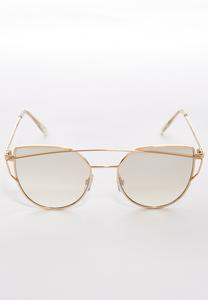 Metal Bar Cateye Sunglasses