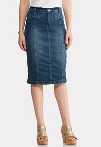Plus Size Front Seam Denim Midi Skirt