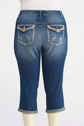 Plus Size Rose Gold Embellished Cropped Jeans | Tuggl