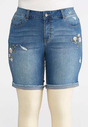 Plus Size Embroidered Denim Bermuda Shorts