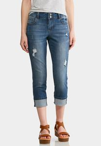 Cropped Distressed Cuffed Jeans