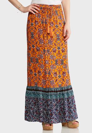 Orange And Navy Floral Maxi Skirt