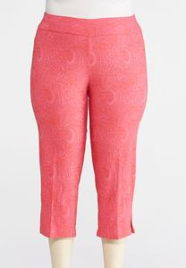 Plus Size Cropped Pink Paisley Bengaline Pants