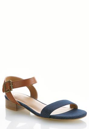 Denim Ankle Strap Sandals   Tuggl