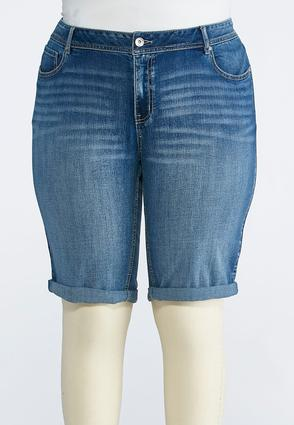 Plus Size Cuffed Denim Bermuda Shorts | Tuggl