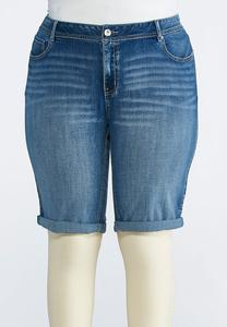 Plus Size Cuffed Denim Bermuda Shorts