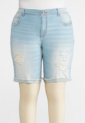 Plus Size Distressed Jean Shorts | Tuggl