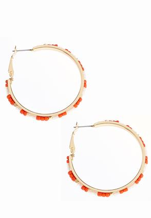 Seed Bead Gold Hoops | Tuggl