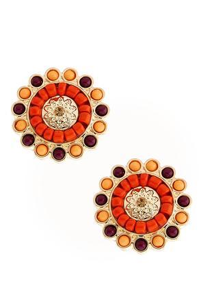 Beaded Button Earrings | Tuggl