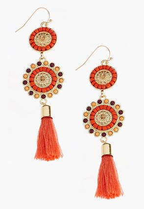 Tasseled Seed Bead Disk Earrings at Cato in Brooklyn, NY | Tuggl