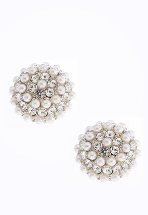 Faux Pearl Button Earrings | Tuggl