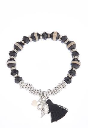 Beaded Stretch Bracelet with Tassel | Tuggl