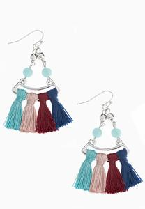 Multi Color Tasseled Earrings