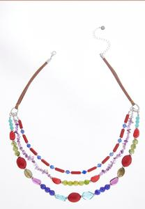 Layered Mixed Bead Cord Necklace