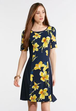 Plus Size Navy Floral Panel Dress