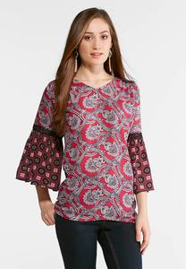 Plus Size Vine Pink Poet Top
