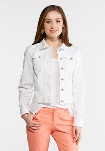 Plus Size White Embroidered Denim Jacket