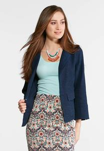 Plus Size Textured Navy Blazer