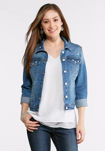 Plus Size Stud Embellished Denim Jacket