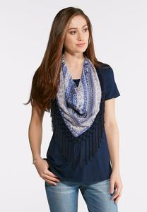 Plus Size Floral Fringe Scarf Tee