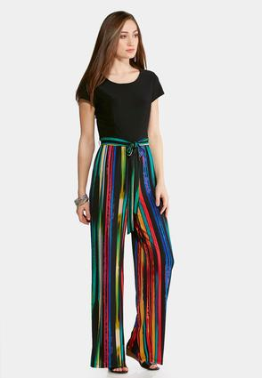 Plus Size Striped Tie Waist Jumpsuit at Cato in Brooklyn, NY | Tuggl