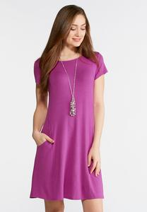 Side Pocket Knit Swing Dress
