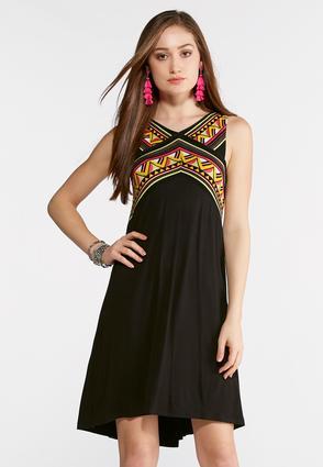 Plus Size Neon Border Swing Dress | Tuggl