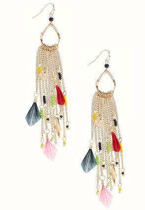Chain Fringe Feather Earrings | Tuggl