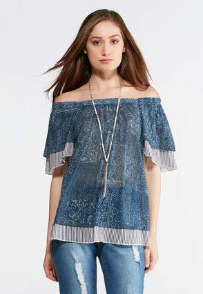 Plus Size Mixed Blue Flutter Sleeve Top