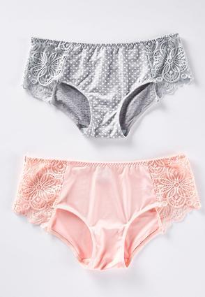 Plus Size Pink Gray Lace Side Panty Set | Tuggl