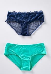 Plus Size Blue And Green Panty Set