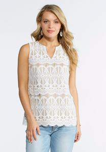 Ivory Nude Lace Tank