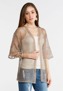 Plus Size Sheer Crochet Cardigan Top