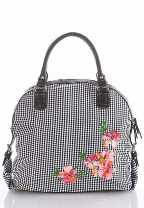 Gingham Floral Canvas Satchel at Cato in Brooklyn, NY | Tuggl