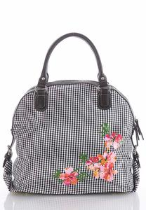 Gingham Floral Canvas Satchel
