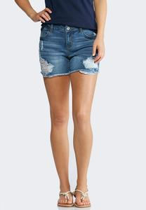 Distressed Americana Denim Shorts